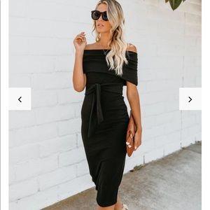 Vici Magenta Ribbed Off the Shoulder Dress